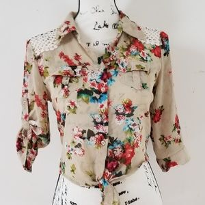Paper Tee Lace Insert Cropped Button/Tie Blouse